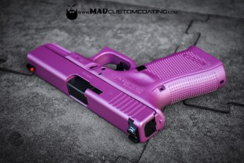 Custom Mix Pink Pearl Cerakote on a Glock 19