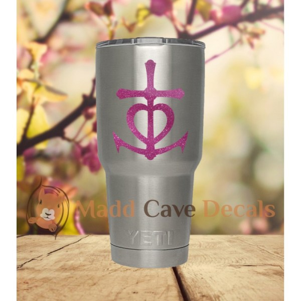 Glitter Cross Heart Anchor Christian Vinyl Decal