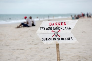"""""""Danger, don't swim here"""" (Exactly where everyone was swimming.)"""