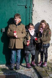 Before our visit to the fort, kitted out with military jackets and torches.