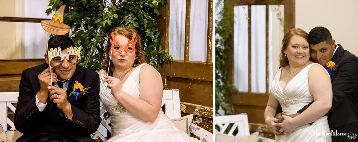 Homemade photo booth with props
