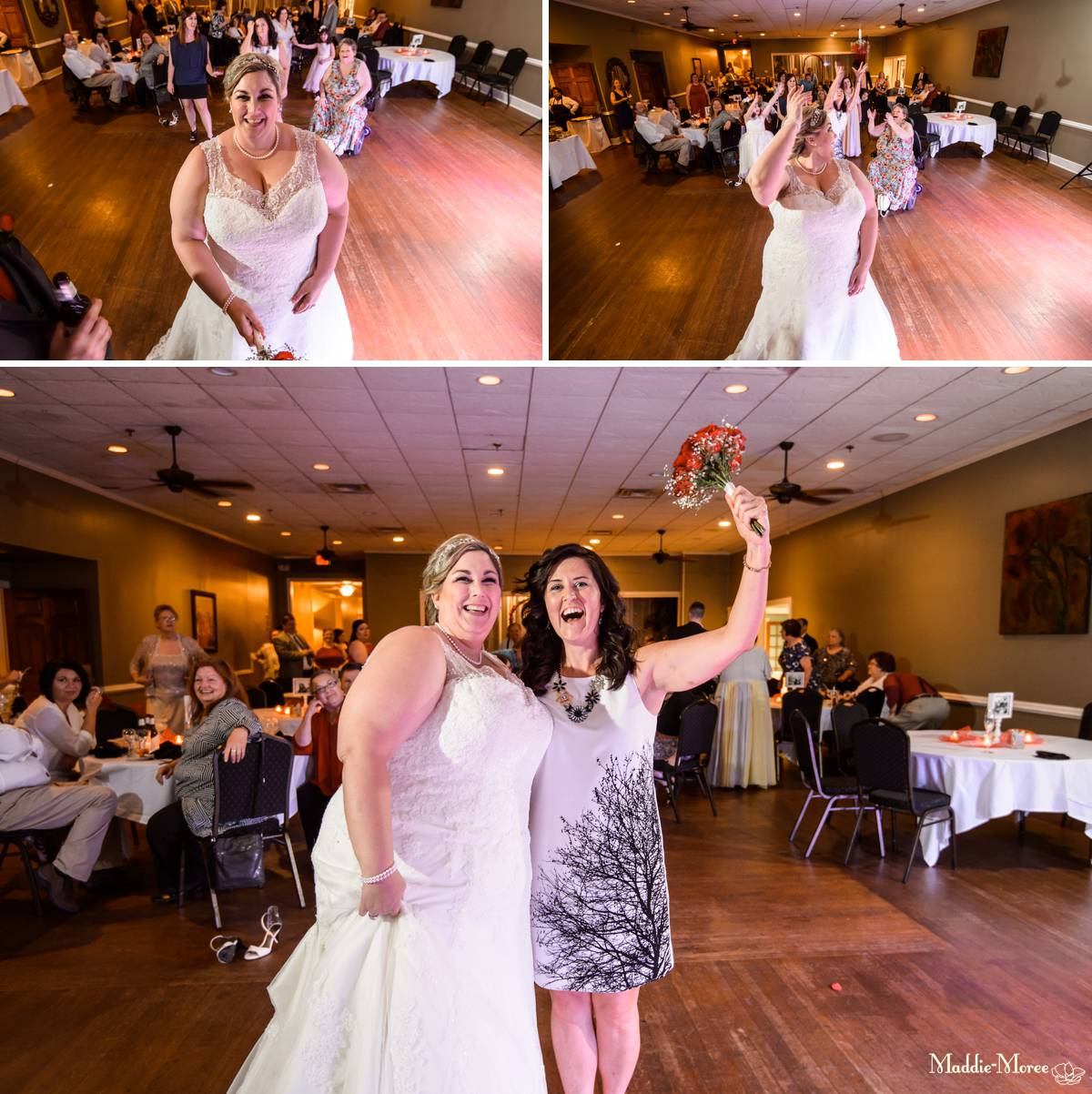 Bouquet toss reception