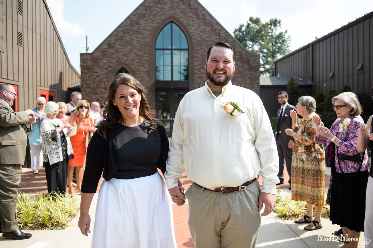 bride groom leaving