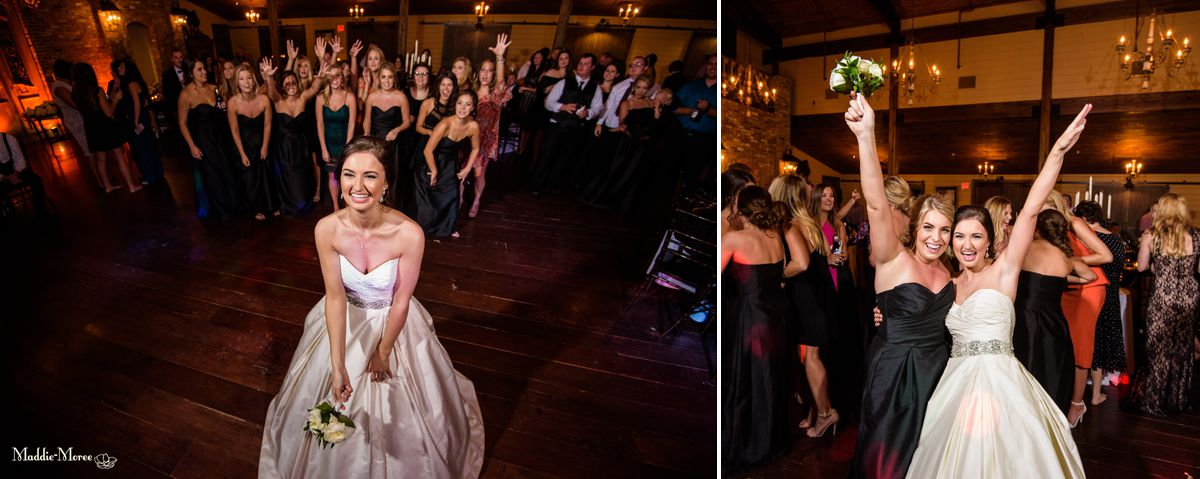 Cedar Hall reception bouquet toss