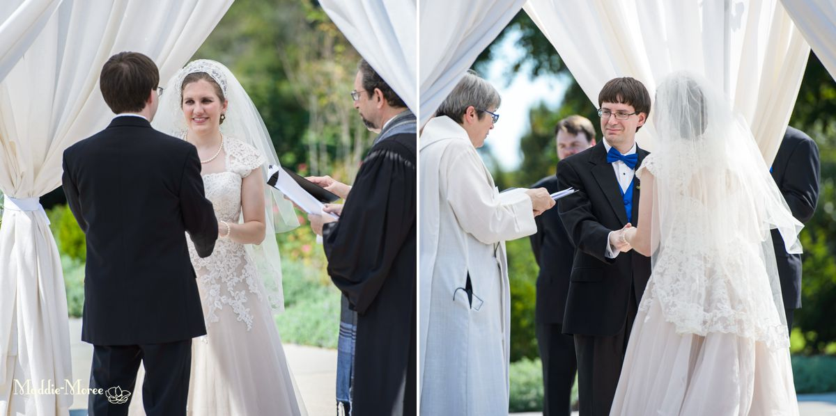 different angles of bride and groom ceremony