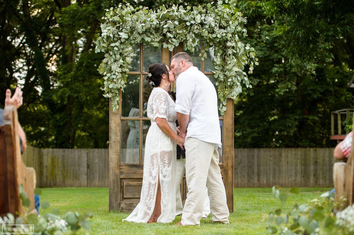 Marion small wedding ceremony kiss