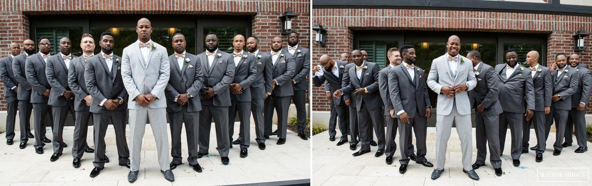 groomsmen flying v