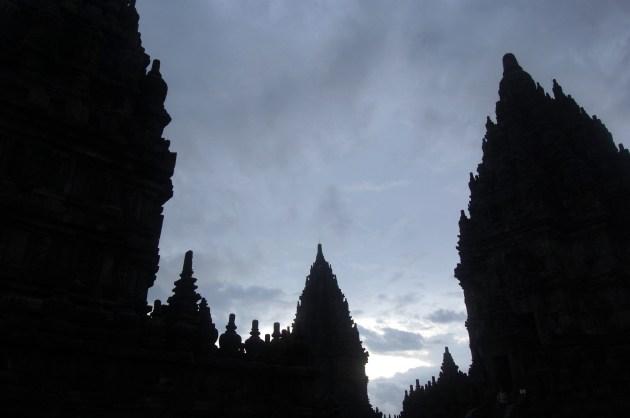 Prambanan's silhouette