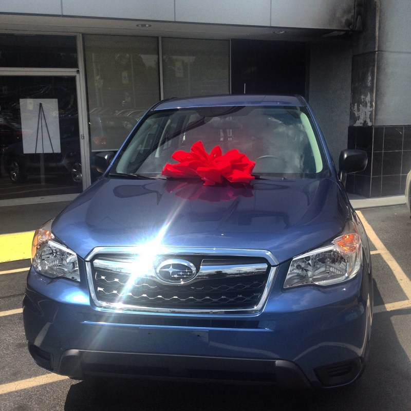 The first photo of my Subaru Forester (manual transmission) on purchase day.