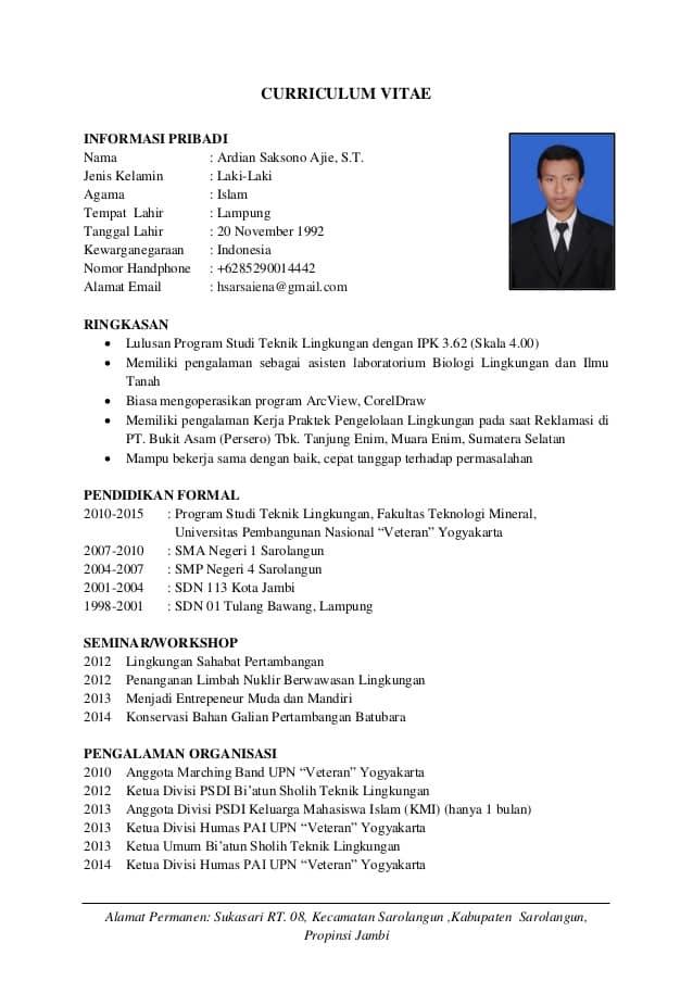 10 Contoh CV / Curriculum Vitae, Dan Tips Membuat CV Yang ... on
