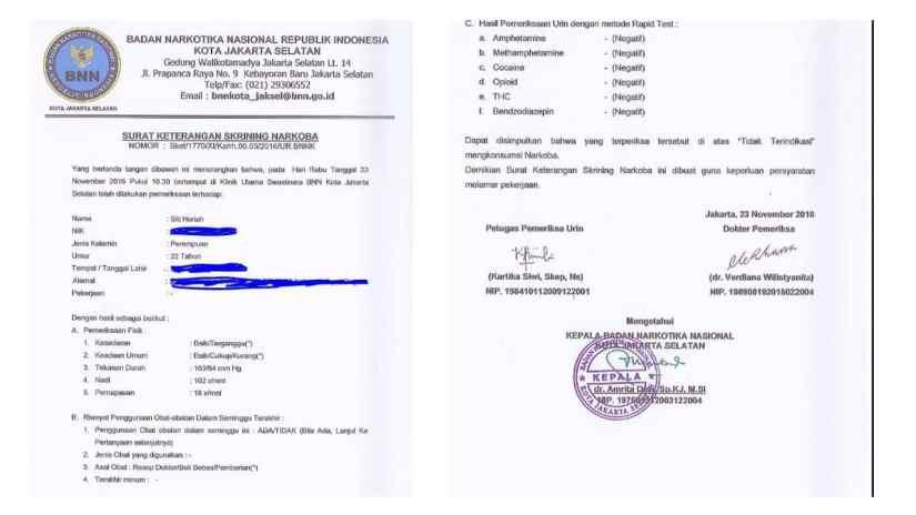Contoh Surat Pernyataan Bebas Narkoba
