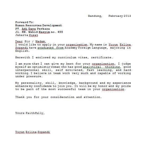 Contoh Surat Pernyataan Dalam Bahasa Inggris