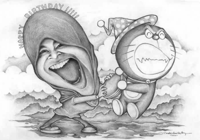 Karikatur dengan Komposisi Warna Hitam Putih
