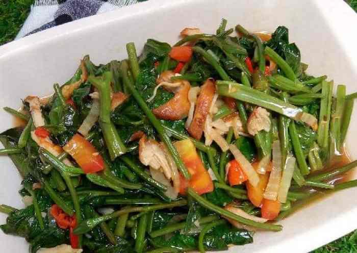 Resep Tumis Kangkung Campur Daging Ayam