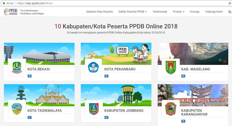 Halaman Kabupaten Kota siap ppdb online