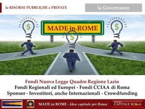 le Risorse Private e Pubbliche per il Made in Rome