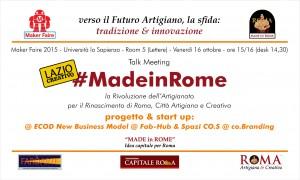 Invito MF15 - #MadeinRome progetto e start up