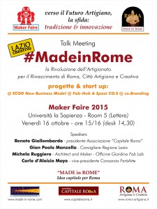 Talk MF15 - #Made in Rome, progetto e start up