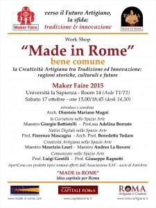 Work Shop MF15 - Made in Rome, bene comune