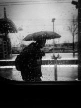 Rain drops falling on his head