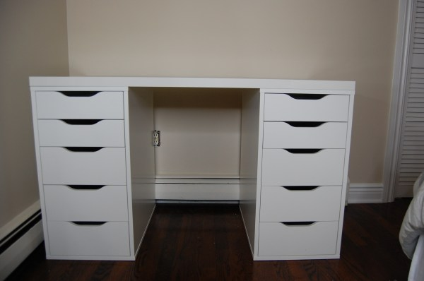 White Makeup Vanity Table with Drawers