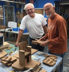 John and Larry working on a miniature Feeding Chair