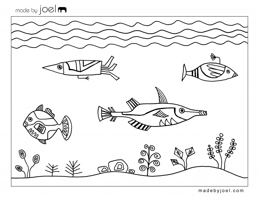 Made by Joel » Underwater Design Coloring Sheet