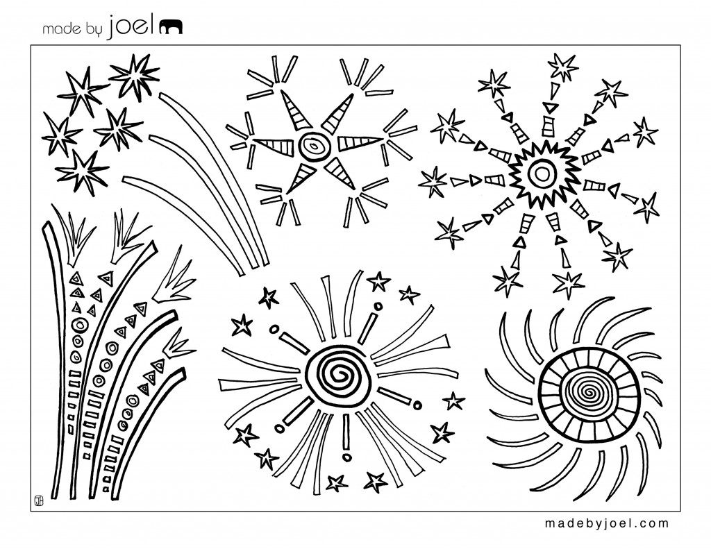 4th Of July Fireworks Coloring Sheet Made By Joel