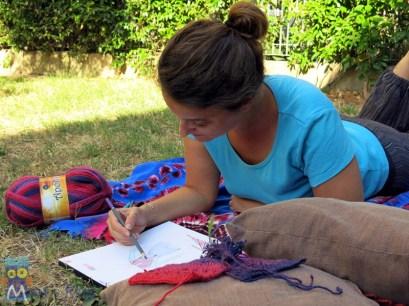 Kate Alinari drawing crochet