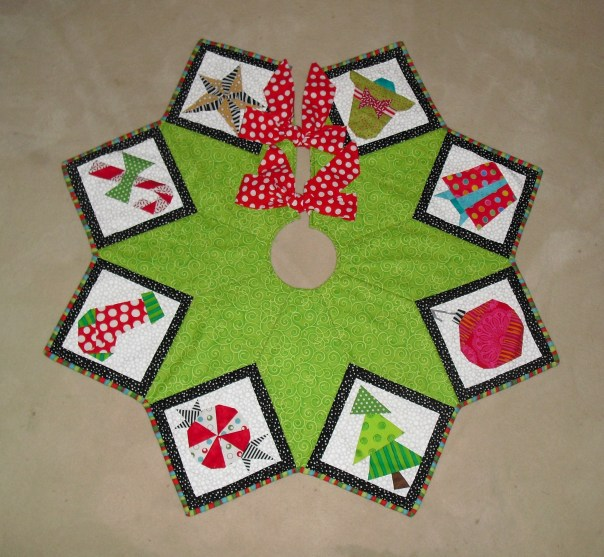 Paper Pieced Christmas Tree Skirt Made By Marney,Special Best Gift For Wife On Her Birthday