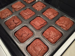 Brownies straight out of the oven. Pre-cooling.
