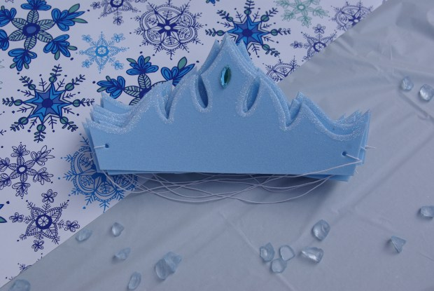 Frozen party ideas. pale blue, foam Elsa crowns