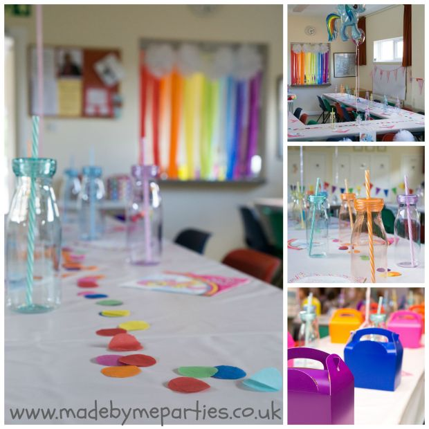 Rainbow pony party decorations. Rainbow table confetti and party ware, pom pom clouds and crepe rainbow.