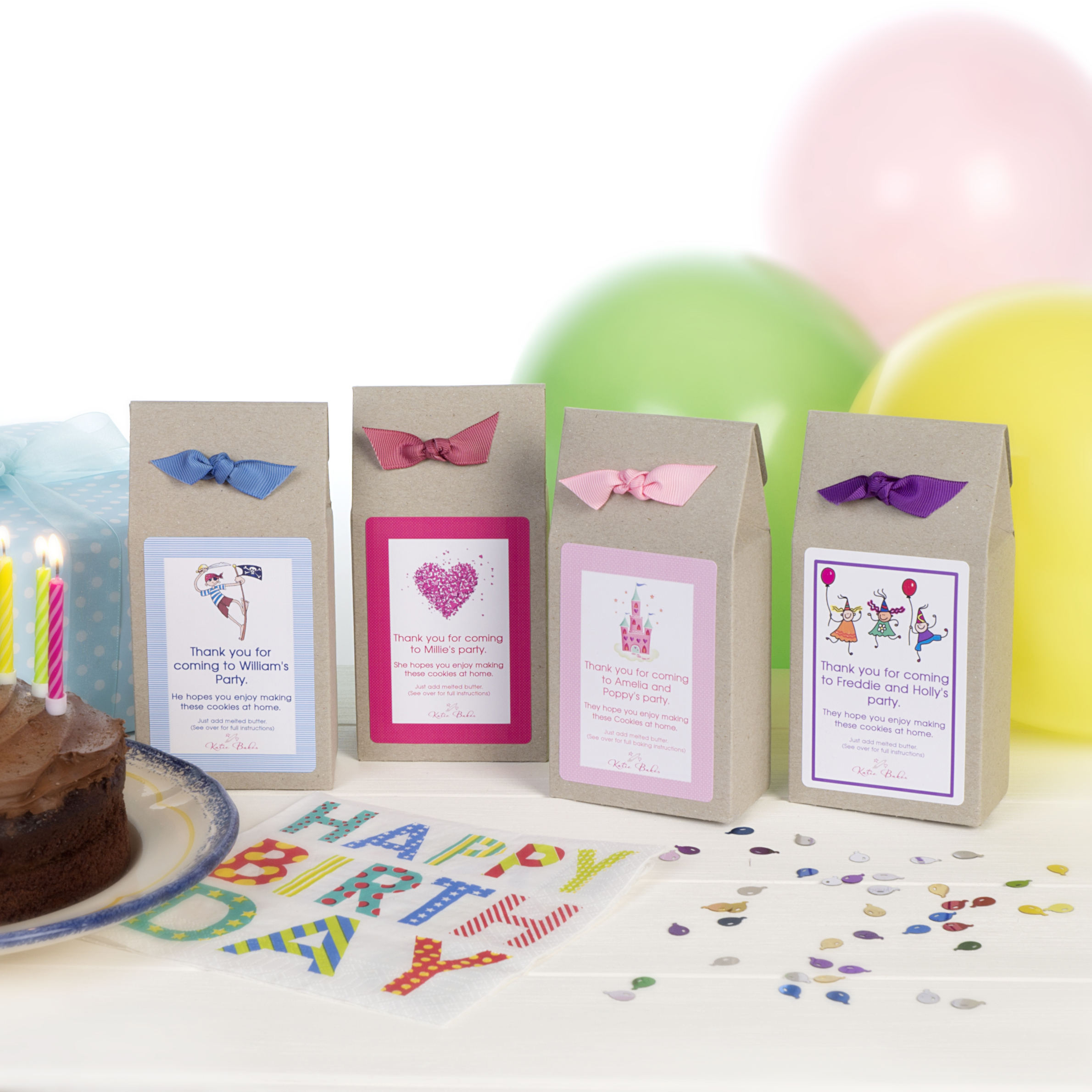 Party bag ideas; Cookie and brownie mix party favours