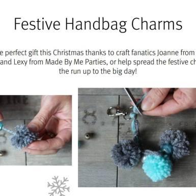 Festive pom pom charms for bags