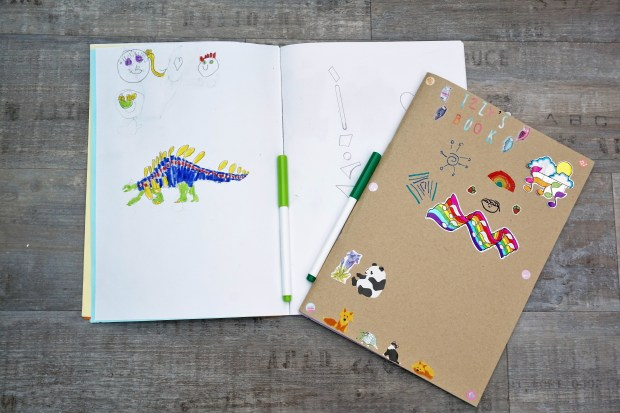 Sketch book showing picture of a dinosaur