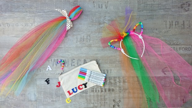 Pony craft kit, including pony mane and tail making and pencil case decorating
