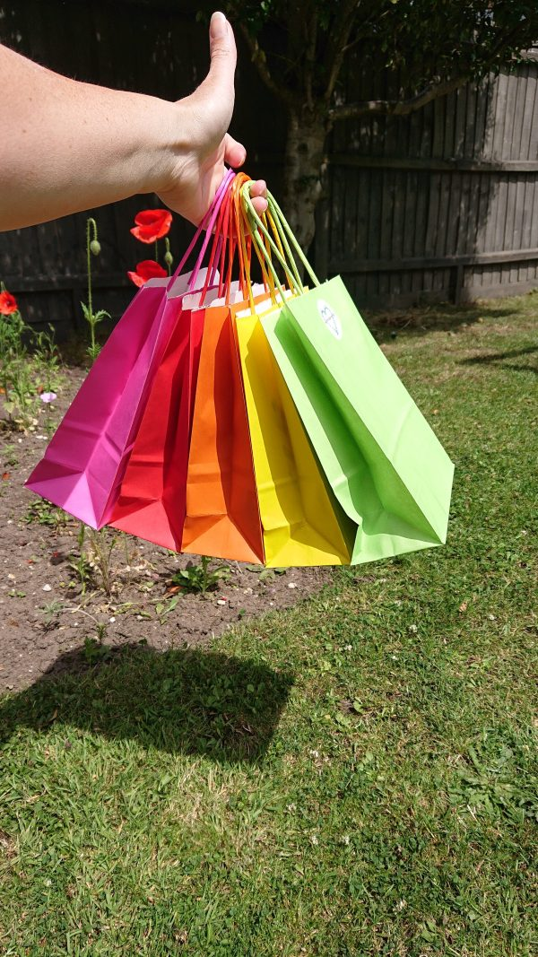 Hand holding a rainbow of paper party bags
