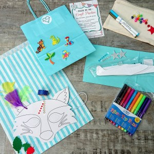 DIY craft party kits showing make a mask, glider and decorate a pencil case