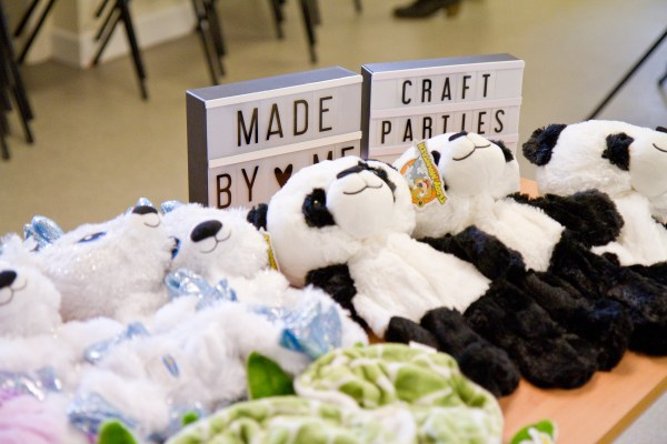 DIY panda party - panda teddy skins ready to be stuffed at a party