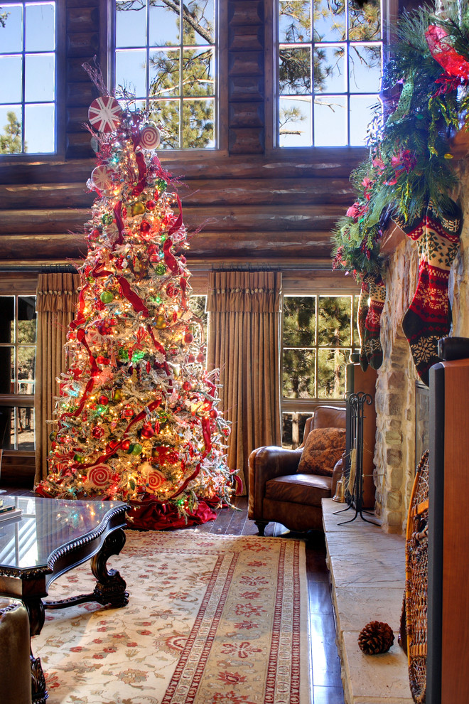 Beautiful christmas stocking holders in Family Room Rustic with Log Cabin Spiral Fireplace  next to Christmas Tree  alongside Mesh Christmas Ribbon  and Cypress Log Coffee Table