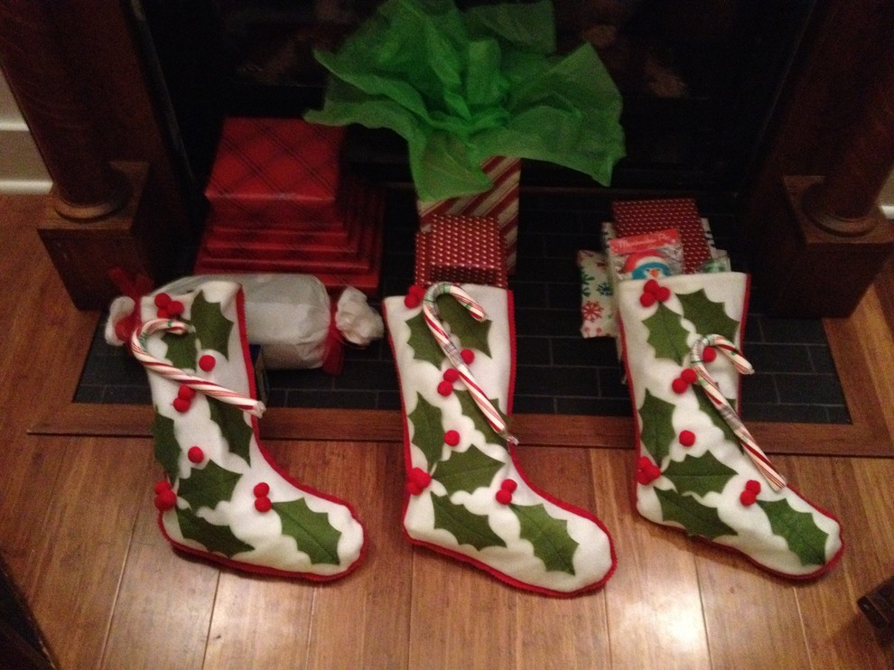 Bright christmas stocking holders in Spaces Other Metro with Girly Apartment Decor  next to Decorating A Studio Apartment  alongside Small Apartment Floor Plans  and Small Open Floor Plan