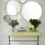 Bright mirrored console table in Hall Contemporary with Interior Brick Walls next to Modern Office Interior Design alongside Behind Sofa Console Table and Pictures Of Bungalow Homes