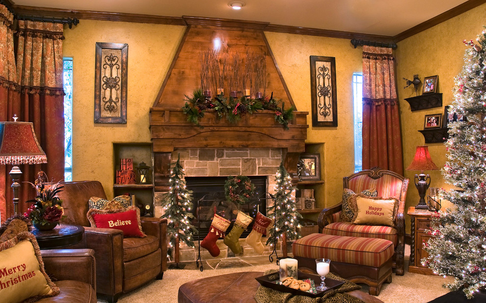 Chic christmas stocking holders in Living Room Traditional with French Country Fireplace Mantles  next to Mantle  alongside Wood Burning Fireplace  and Curtain Style
