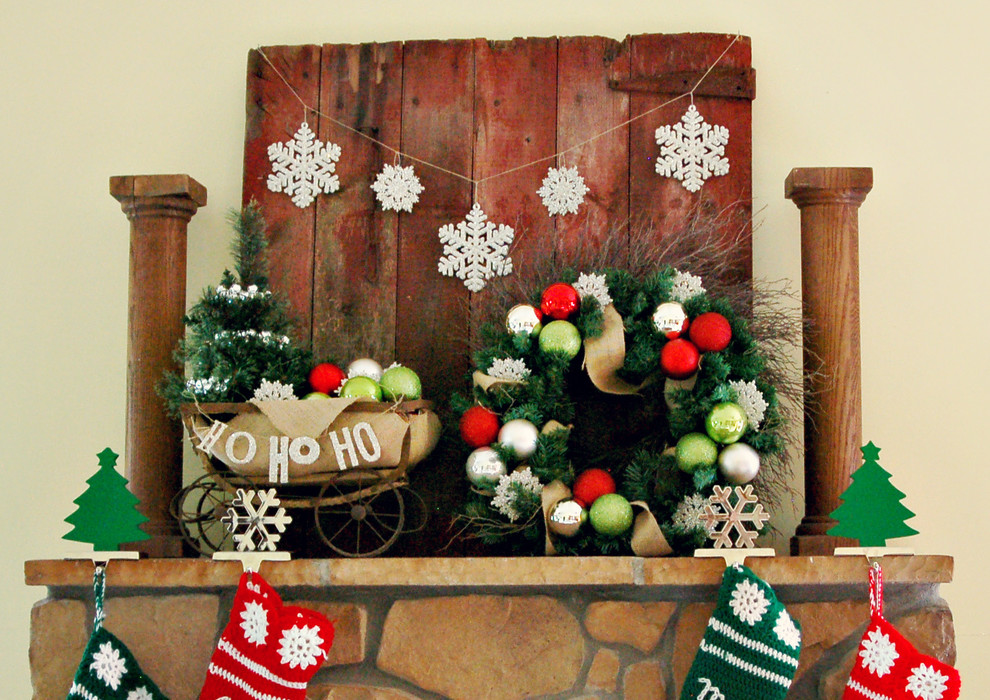 Elegant christmas stocking holders in Family Room Rustic with Baby Gate  next to Stone Fireplace Surround  alongside Wood Pallet  and Fireplace Mantel Decorating Ideas