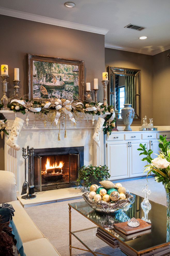 Impressive christmas stocking holders in Living Room Traditional with Cedar Mantel  next to Cabinet Next To Fireplace  alongside Built In Cabinet  and Mantel Decor