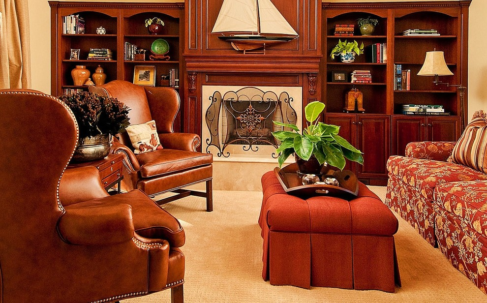 Pretty Wingback Chairs In Living Room Contemporary With