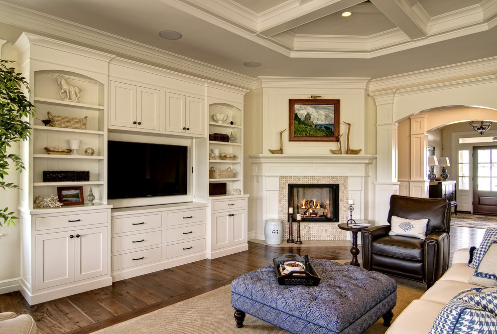 traditional living room ideas with fireplace and tv indian painting innovative broyhill in family bookcases next to built entertainment center alongside wall unit