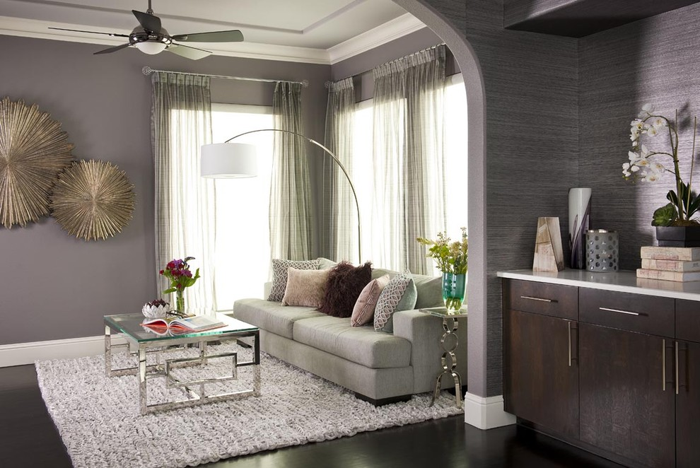 Impressive arc floor lamp in Living Room Transitional with