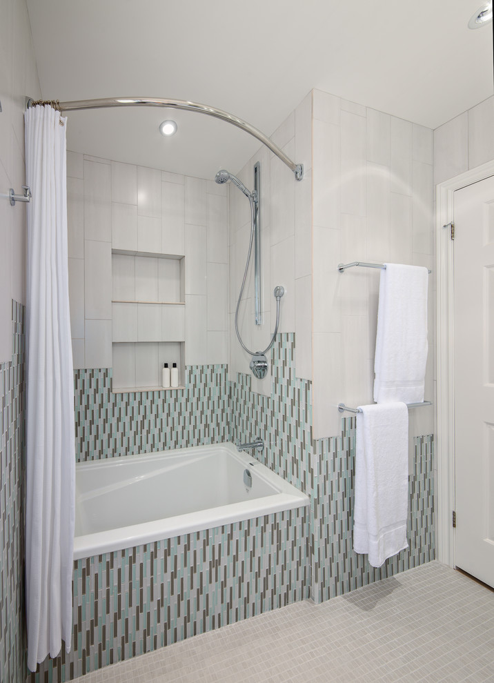 Curved Shower Curtain Rod In Bathroom Contemporary With Curved